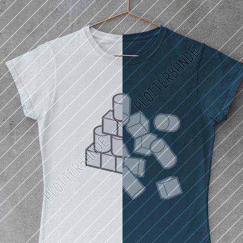 Das Bild zeigt ein zweifarbiges T-Shirts mit dem Geometrie-Design der Plotterbande.