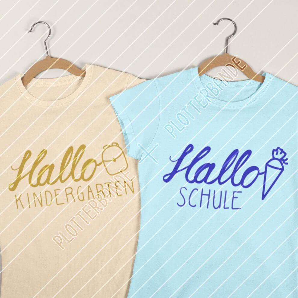 Zwei farbige T-Shirts mit dem Desing Hallo Kindergarten und Hallo Schule werden auf diesem Bild gezeigt.