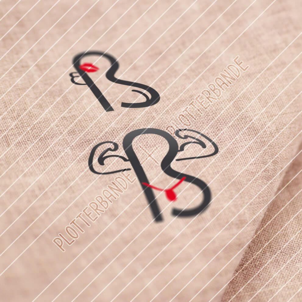 """Das Bild zeigt einen Stoff, auf dem ein Plottdesign der Plotterbande gedruckt ist. Das Design zeigt das Motiv """"Zwei scharfes S""""."""