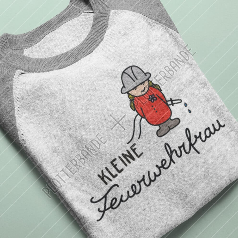 Das Bild zeigt ein graues Longsleeve mit dem Kleine Feuerwehrfrau-Design der Plotterbande.