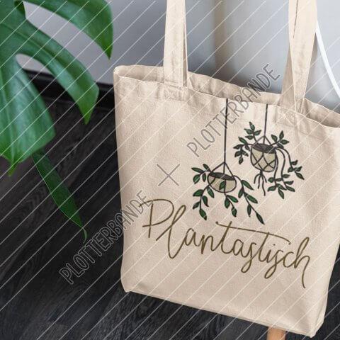 Das Bild zeigt einen Einkaufsbeutel mit dem Plantastisch-Design der Plotterbande.
