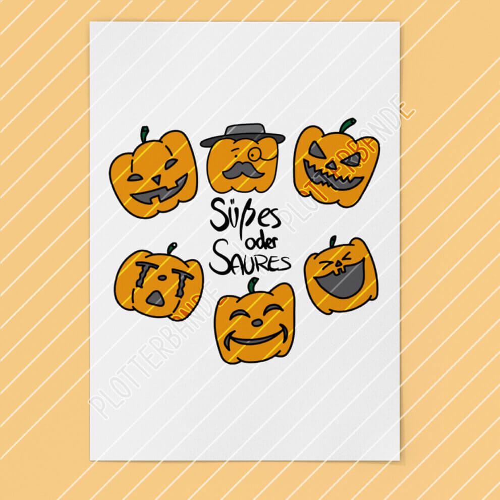Auf einem Poster ist das Halloween-Kürbis-Design der Plotterbande abgebildet.