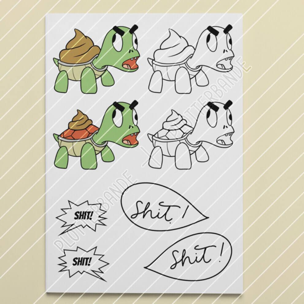 """Zu sehen ist eine weiße Tafel mit den beiden Versionen des """"Shitkröte""""-Plottdesigns der Plotterbande – jeweils in Farbe und als Outline. Darunter sind die verschiedenen Versionen der Sprechblase abgebildet."""