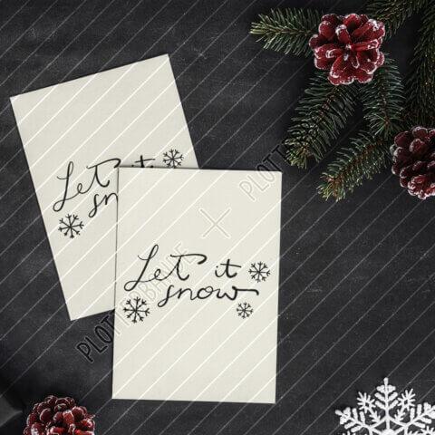 (3) Das Bild zeigt Weihnachtskarten mit dem Let it Snow-Design der Plotterbande.