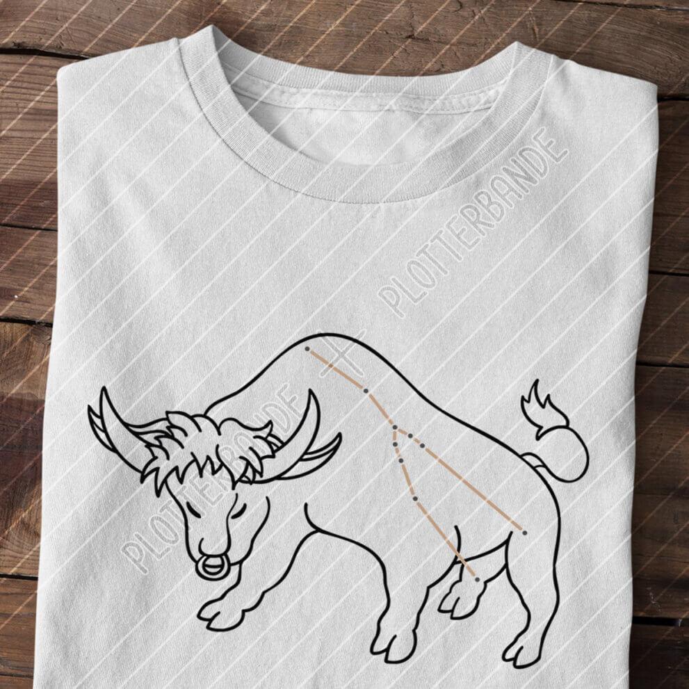 (2) Auf einer Holzfläche liegt ein hellgraues T-Shirt mit dem Sternbild Stier-Design der Plotterbande.